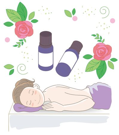 Aroma oil and small bottles - Massage image with rose Illustration