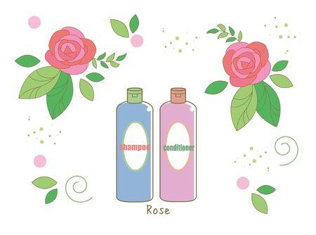 Organic rose shampoo - With rose Flower image Illustration