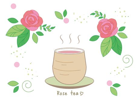 Rose tea set  Hot tea and Asian style cup Illustration