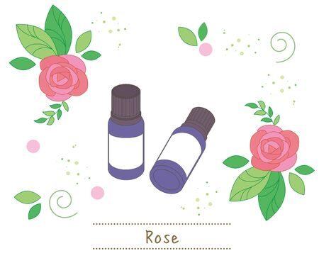 Aroma oil and small bottles - Rose image