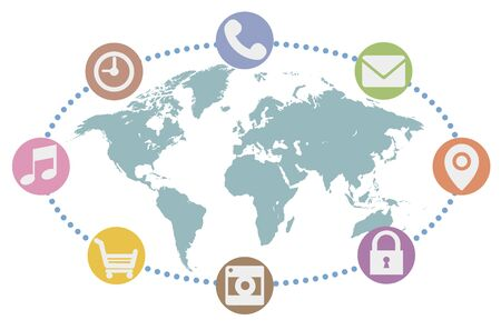 Global network, world map background image Ilustrace