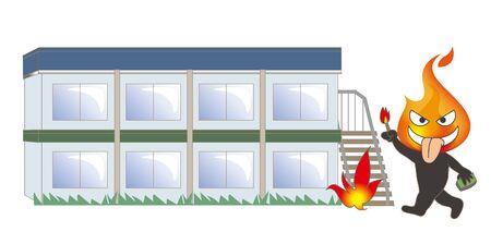 Beware of fire - Arsonist and building Vektoros illusztráció