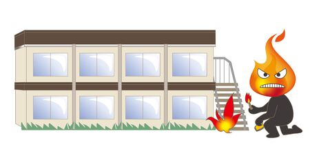 Beware of fire - Arsonist and building Illustration