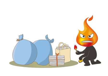 Beware of fire - Garbage and Arsonist with a lighter Illustration