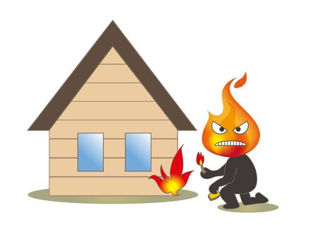 Beware of fire - Arsonist and building