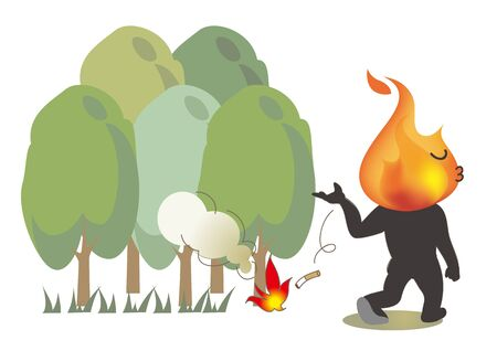 Beware of fire - Cigarette littering in the forest Illustration