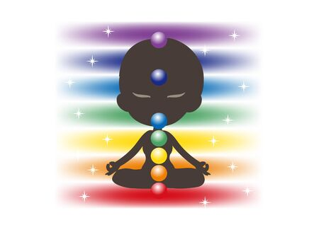Meditation in Seven chakras color - Avatar type Illustration