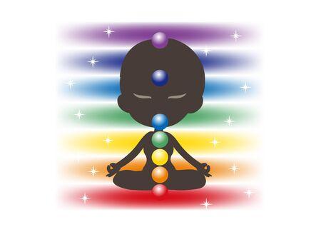 Meditation in Seven chakras color - Avatar type Illustration
