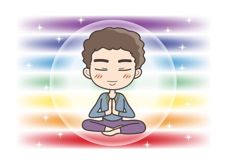 Meditation in Seven chakras color - Man is holding his hands together in prayer