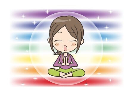 Meditation in Seven chakras color - Woman is holding her hands together in prayer