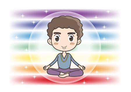 Meditation in Seven chakras color - Man of opened eyes pose