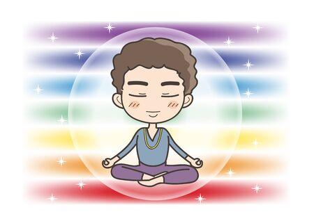 Meditation in Seven chakras color - Man of closed eyes pose Illustration