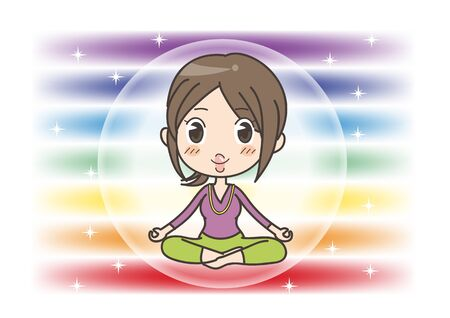 Meditation in Seven chakras color - Woman of opened eyes pose