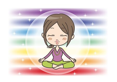 Meditation in Seven chakras color - Woman of closed eyes pose