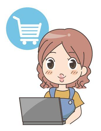 Woman doing Online shopping - computer
