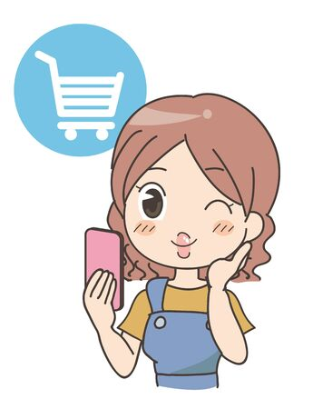 Woman doing Online shopping - mobile phone