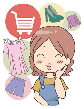 Woman doing Online shopping - image Ilustrace