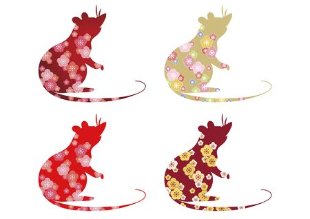 New Years card material, zodiac fashionable mouse set