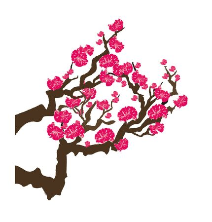 Handwritten retro plum tree Illustration