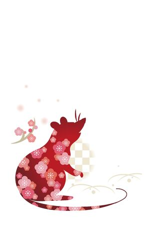 New Years card template, mouse with flowers  vertical type