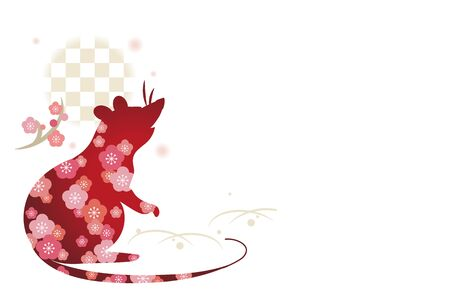New Years card template, mouse with flowers  Horizontal type  イラスト・ベクター素材