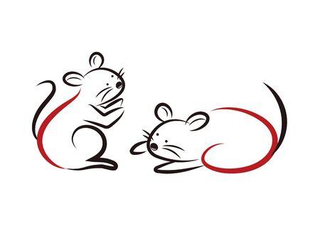 2020 Zodiac cute mouse set  イラスト・ベクター素材