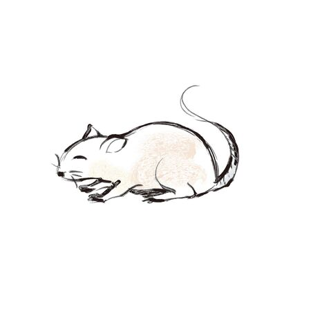 New Years card material, zodiac mouse  イラスト・ベクター素材