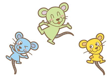 New Years card material, zodiac cute mouse set