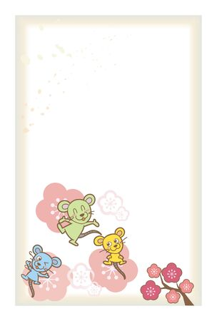 New Years Card Template, Mouse with Pattern