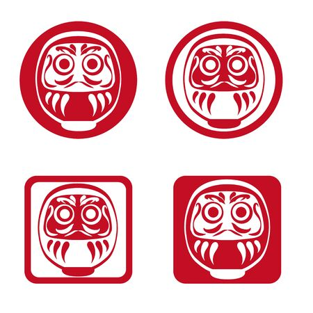 Japanese Daruma doll-lucky item icon set