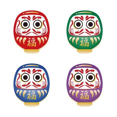 Japanese Daruma doll-lucky item icon set Vektoros illusztráció