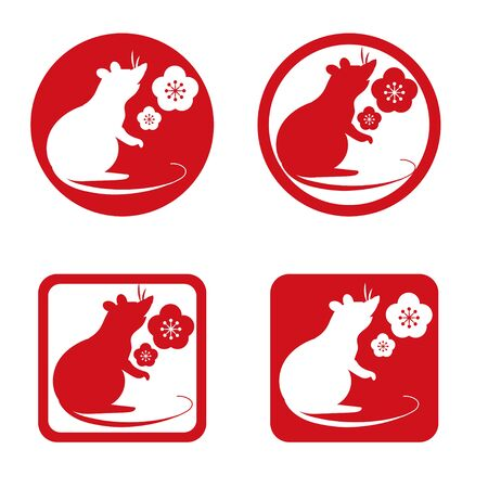 Zodiac cute mouse - lucky item icon set  イラスト・ベクター素材