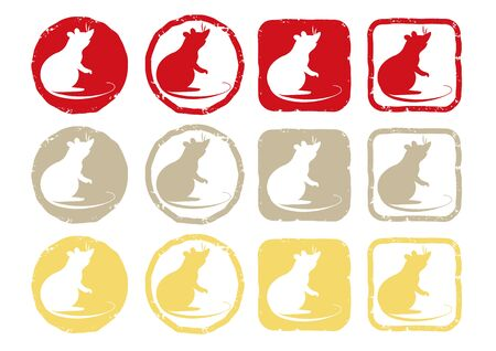 Zodiac Cute Mouse - Lucky Item Stamp 3colors
