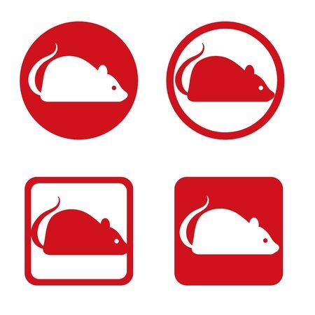 Zodiac cute mouse - lucky item icon set Çizim