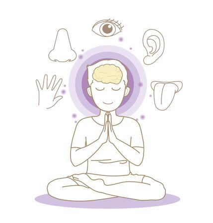Five senses image - Yoga pose - Man