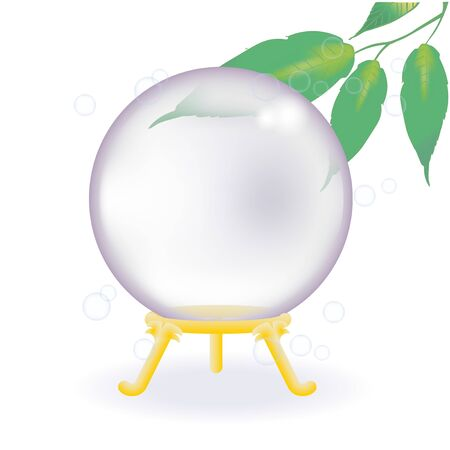 Crystal Ball - spiritual image / Vector illustration of Transparent background.