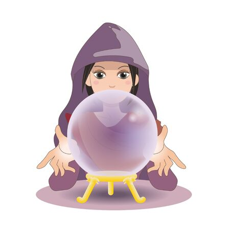 Crystal ball and Fortune teller wearing a cape