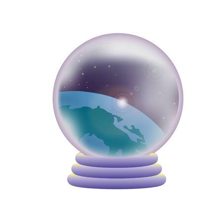 Crystal ball reflecting the universe Çizim
