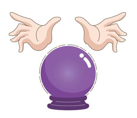 Bola de cristal y manos de adivino