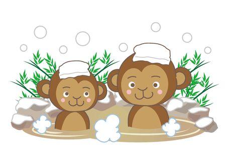 Monkeys Enjoying Themselves in Hot Springs in the Snow.