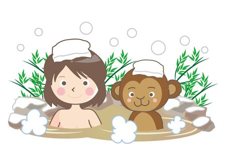 Monkey and Woman Enjoying in Hot Springs in the Snow.