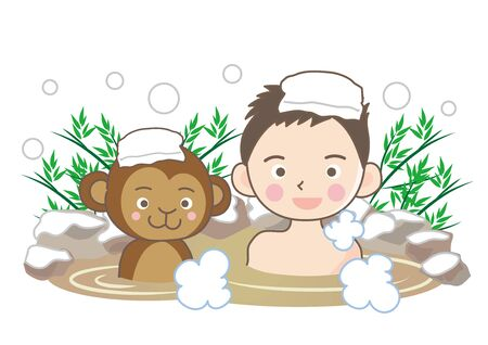 Monkey and Man Enjoying in Hot Springs in the Snow.