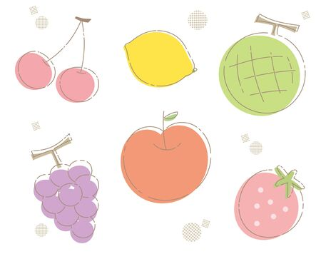Fresh fruits Various -Outlined Frame-