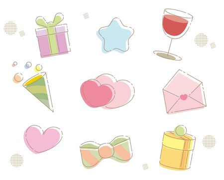 Cute Present Icon Set -Outlined Frames-