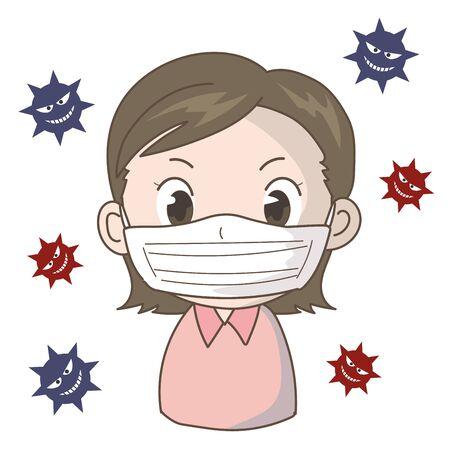 Prevent the Spread of New Coronavirus Infection - Girl 스톡 콘텐츠 - 142030754