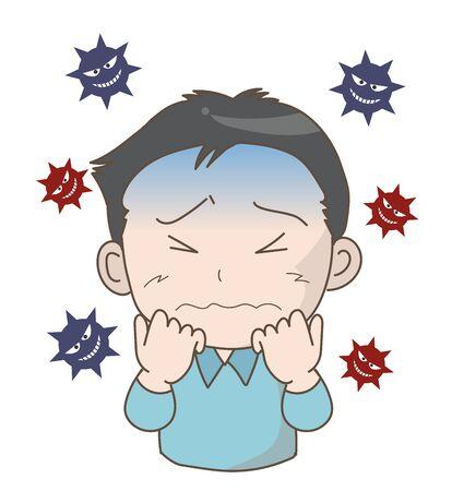 Man scared of pandemic threat -coronavirus- 스톡 콘텐츠 - 142252202