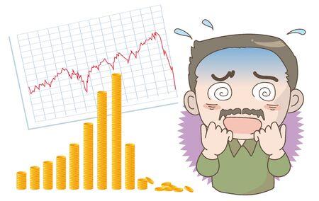 Economic crash image -Shocked man Çizim
