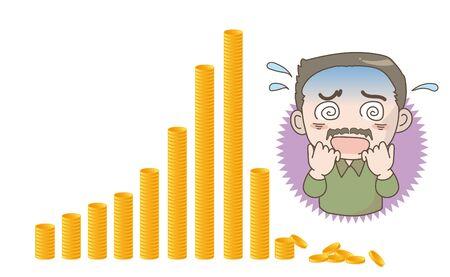 Coin graph crash image - Shocked man 스톡 콘텐츠 - 142508708