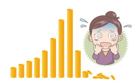Coin graph crash image - Shocked woman 일러스트