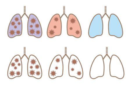 Coronavirus lung icon variation set Çizim
